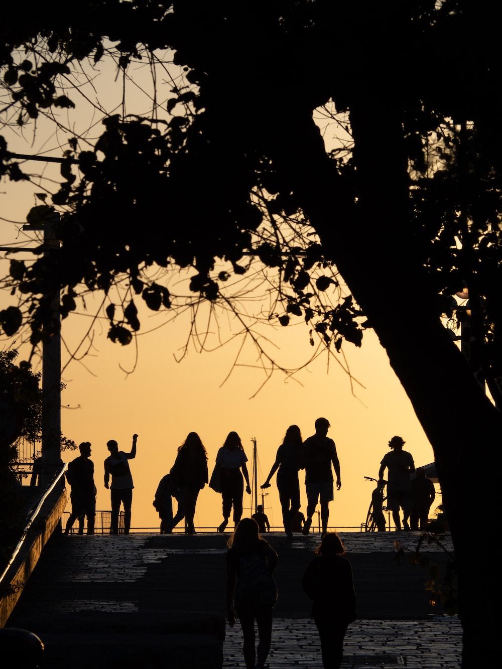 silhouette of people walking on sidewalk during sunset