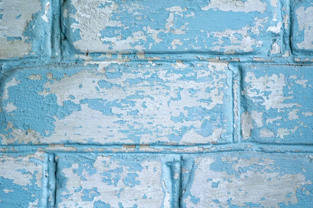 blue and white concrete brick