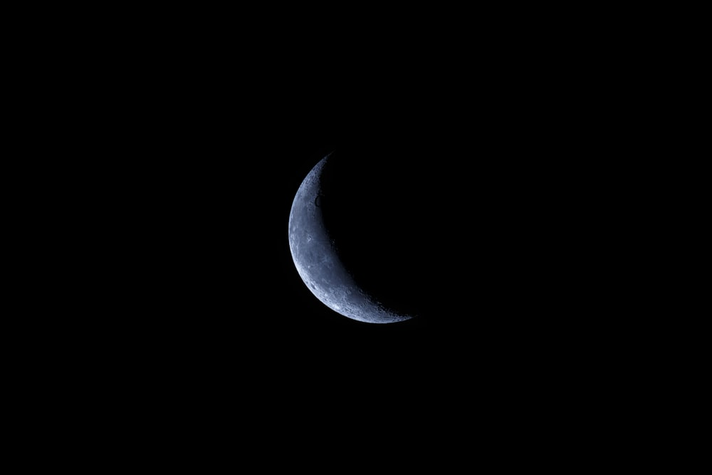 black and white crescent moon