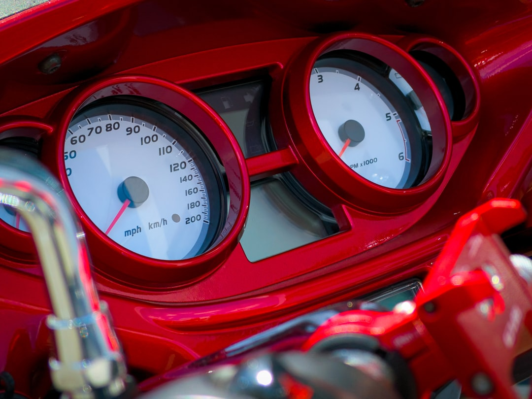 Tachometer of a red Harley Davidson Victory Motorcycle