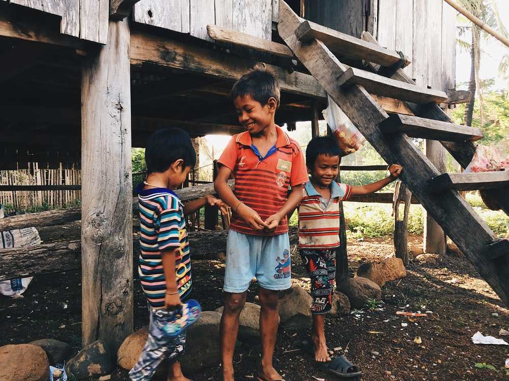2 boys standing on brown wooden bridge