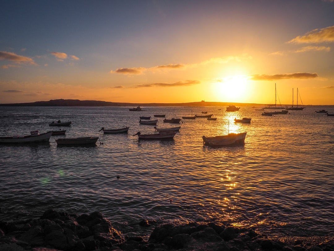 Sunset with boats on the sea