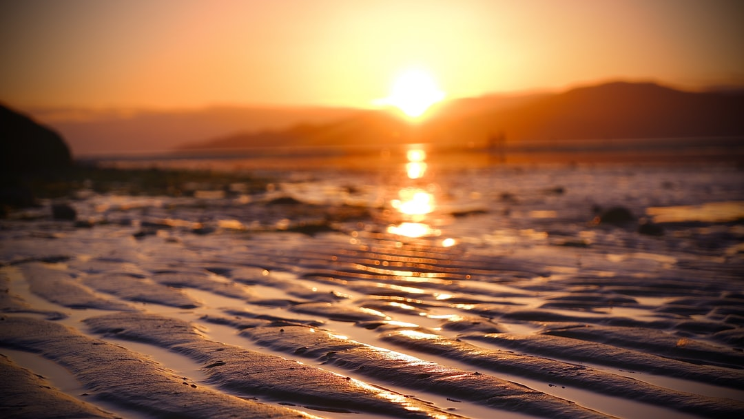 Sunset at Spanish Bank Vancouver Canada June 2020 Wave effects on the sand