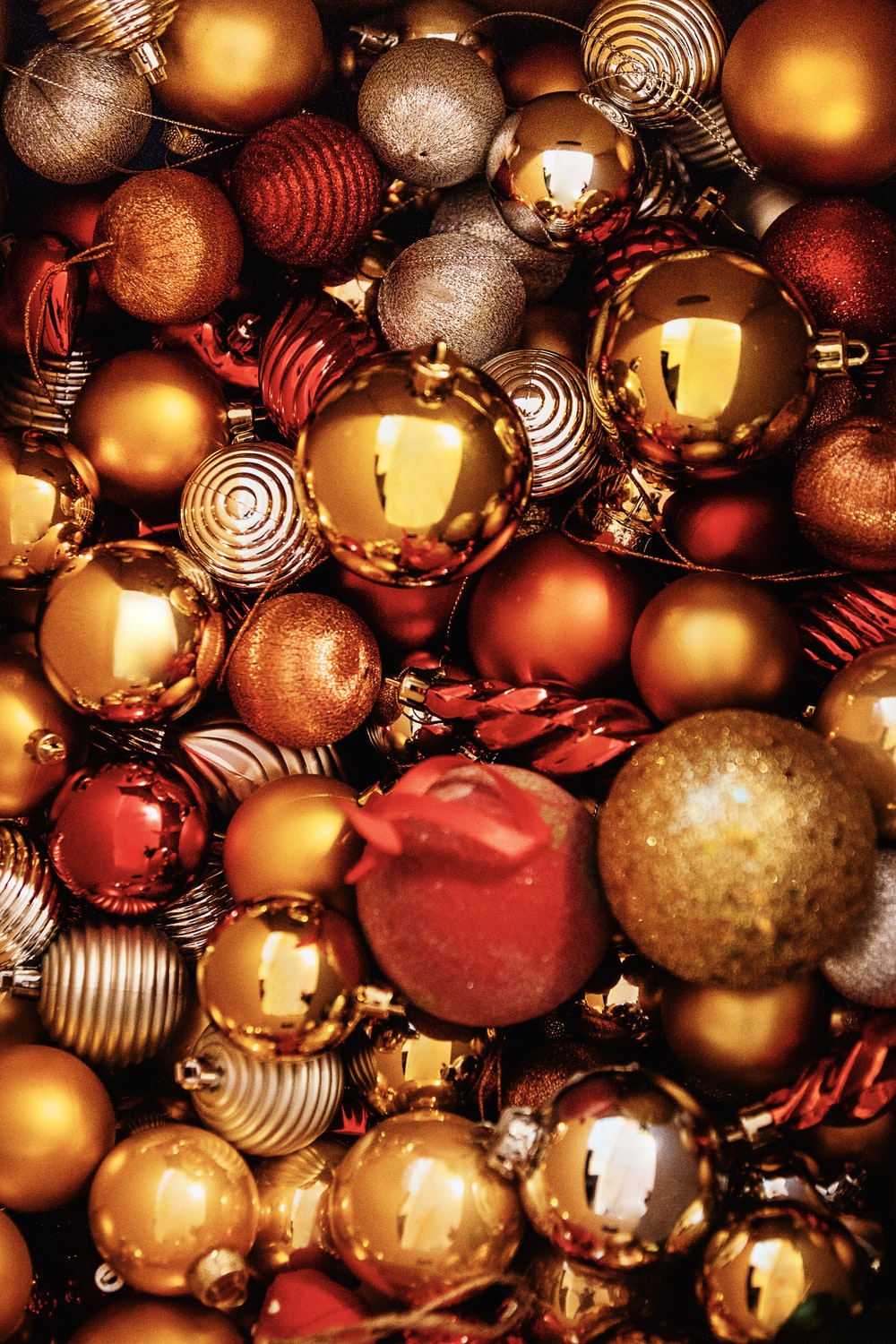 gold and red baubles on red and gold baubles