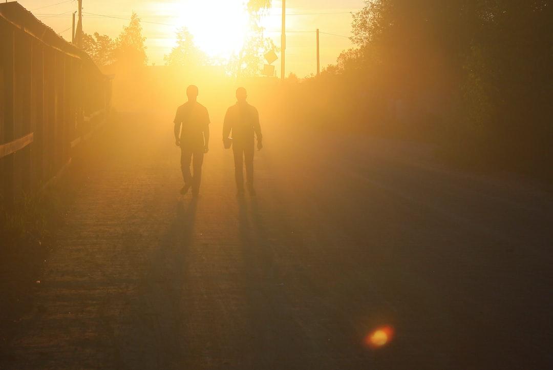 Dusty road, silhouettes of a pair of men, sunset lighting. Yellow. Evening. • Пыльная дорога, силуэты пары мужчин, закатное освещение. Жёлтый. Вечер.