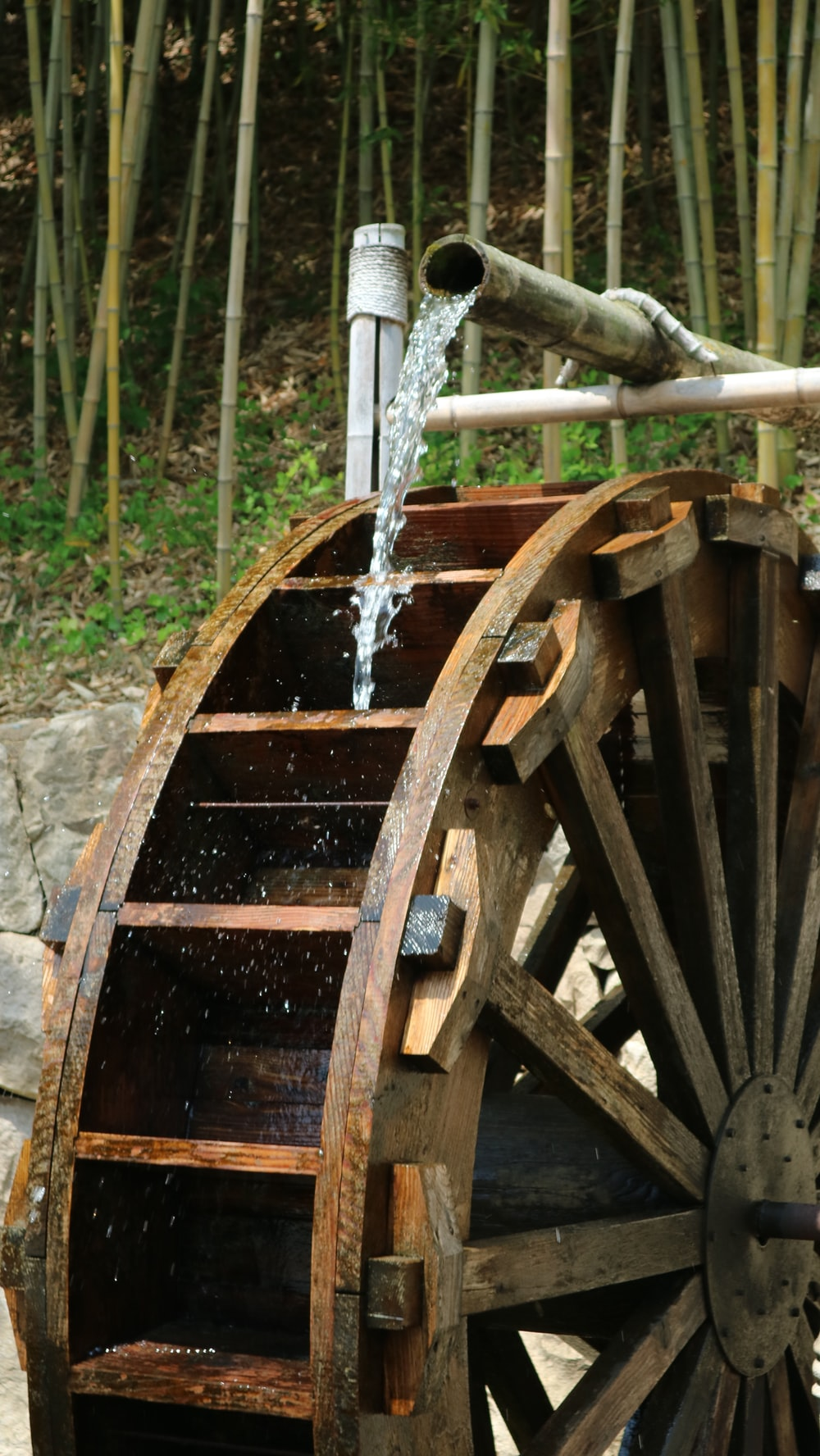 brown wooden wheel with water