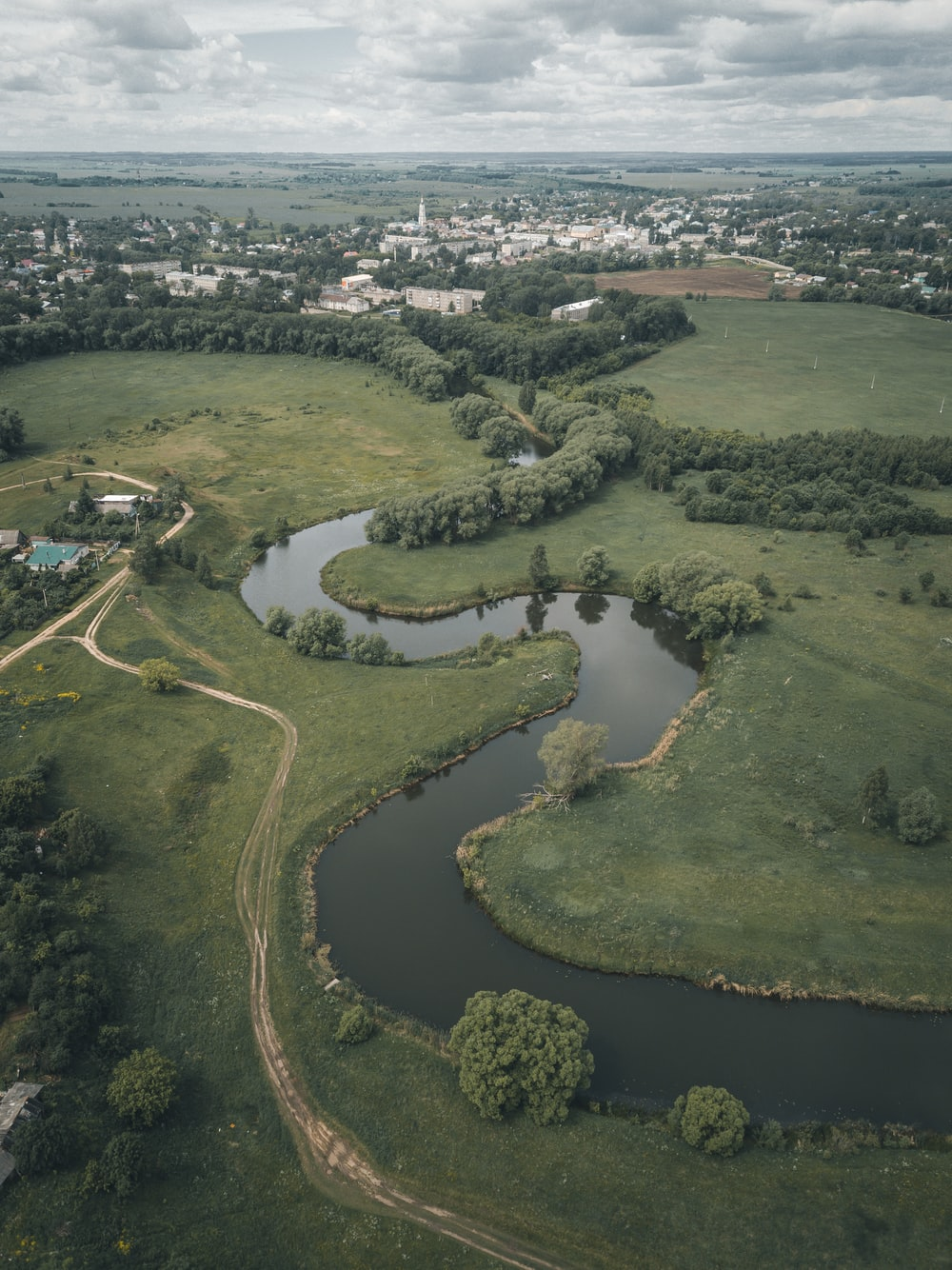 aerial view of green grass field and river