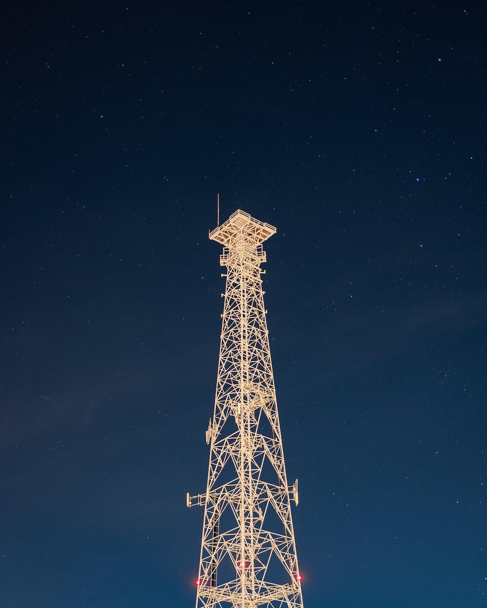 eiffel tower under starry night