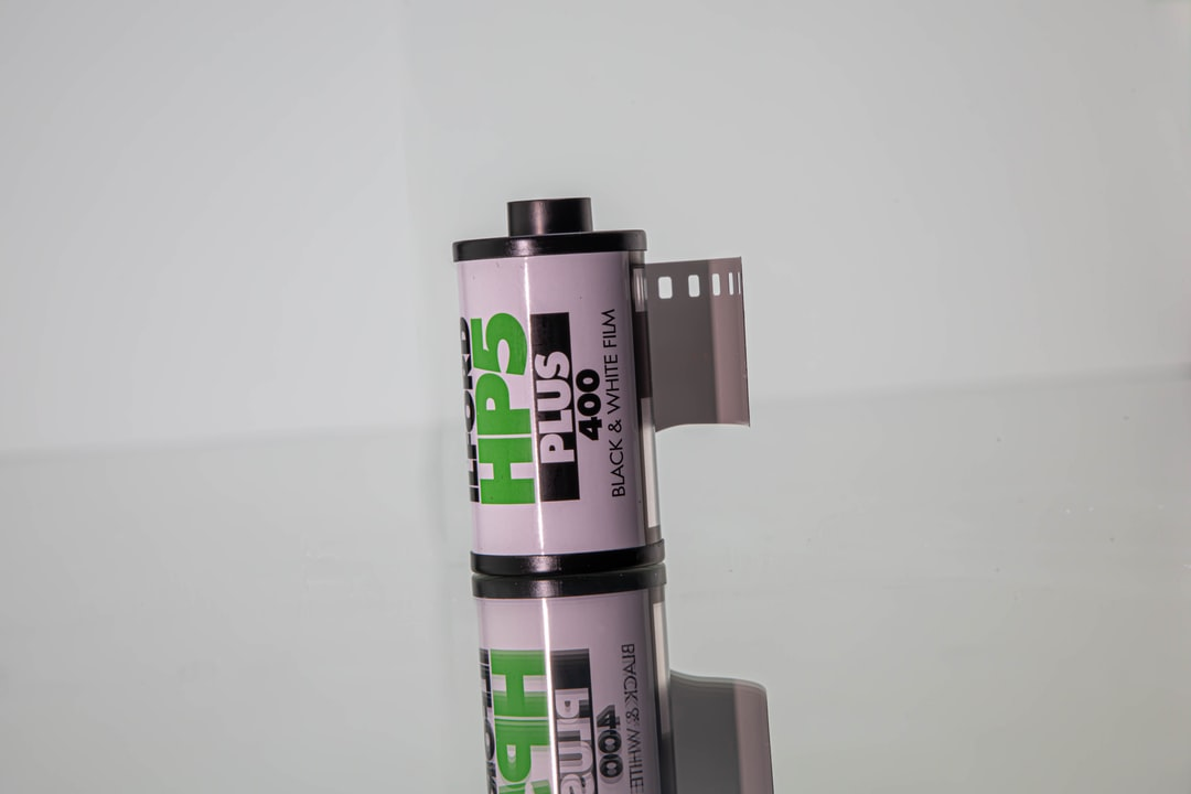 A roll of black and white film