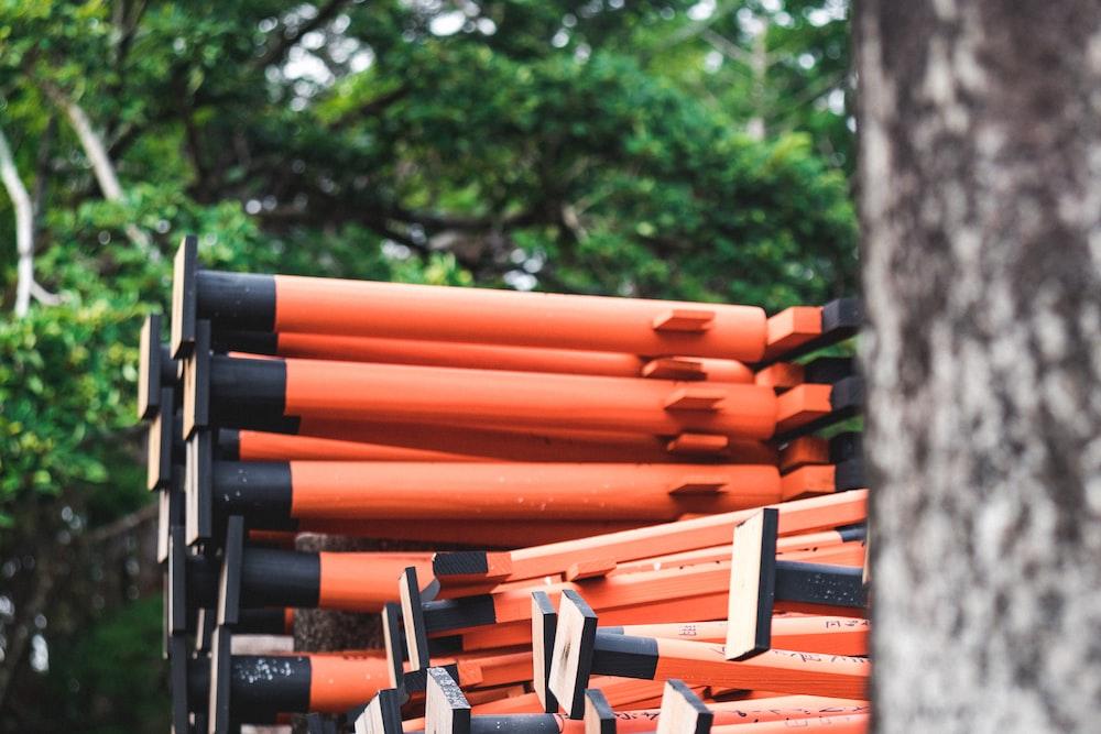 black and orange metal tools