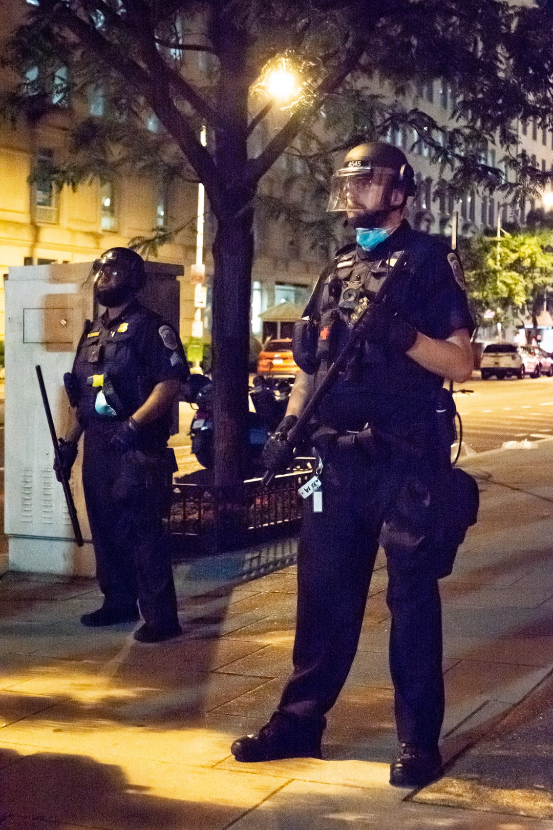 Policeman blocking protestors