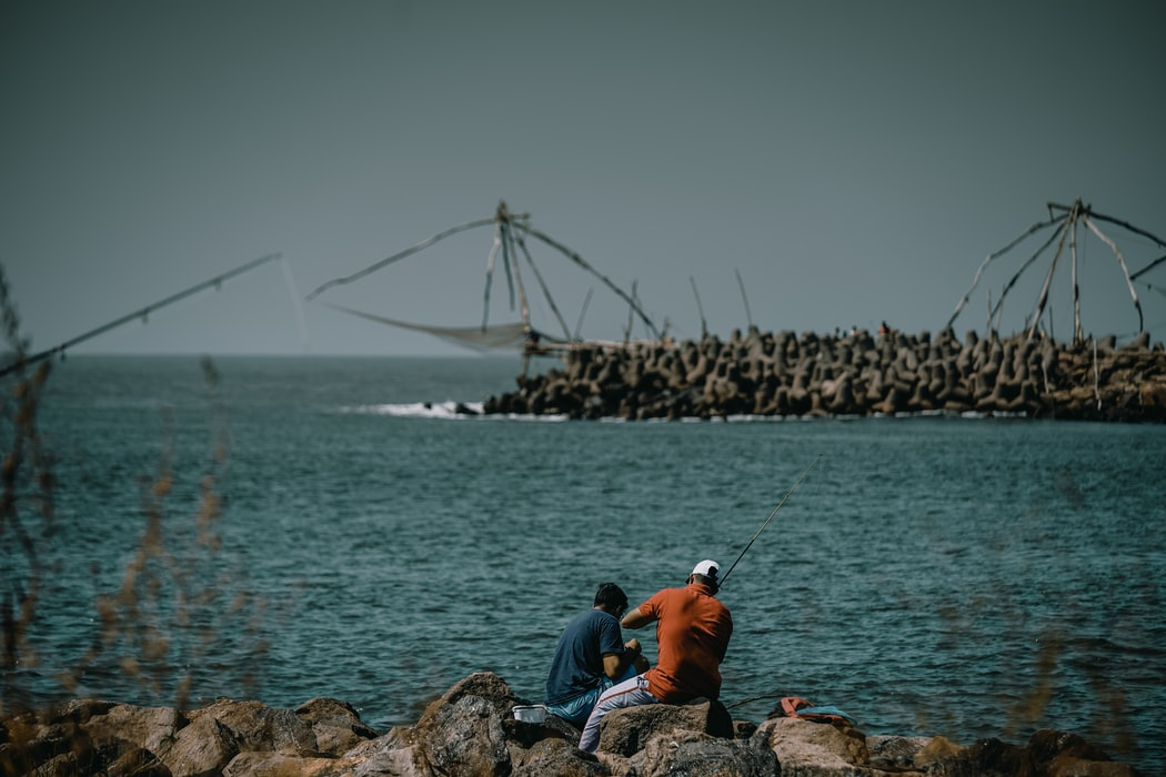 A click of two guys fishing