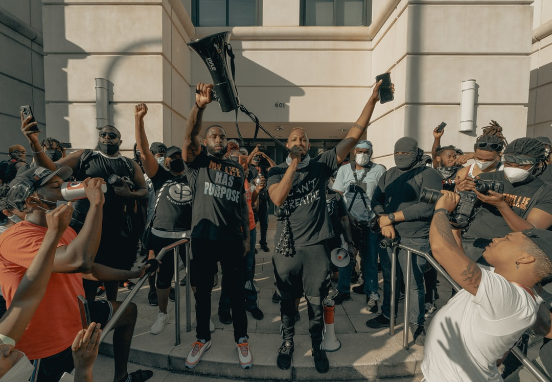 Protestor has the floor at the George Floyd protests 6/2/2020 (IG: @clay.banks)