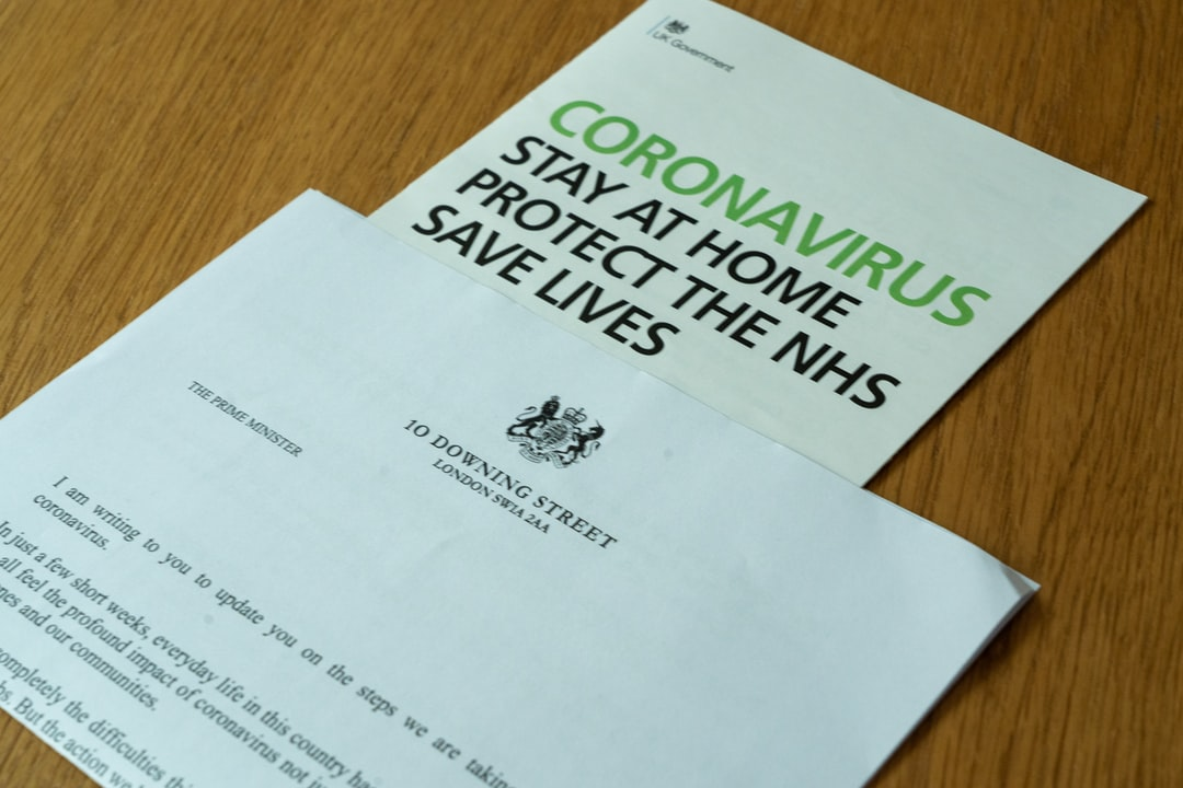 The letter that every household in the UK received from the Prime Minister, Boris Johnson, shortly after the outbreak of the coronavirus pandemic in the UK, together with a leaflet.
