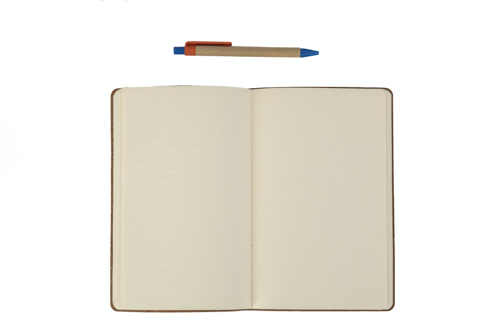 white book with blue pen