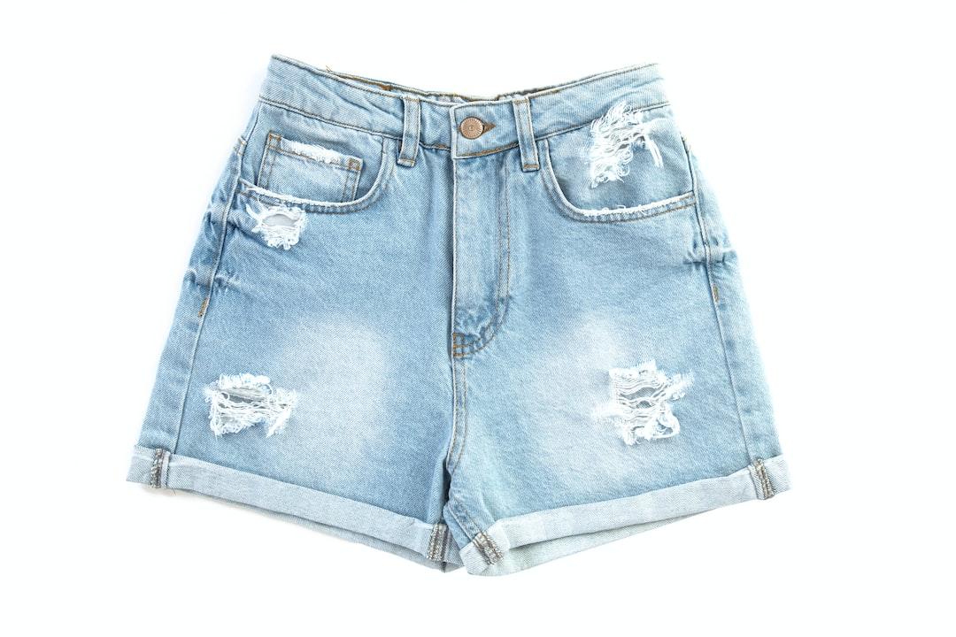 women denim shorts on the white background