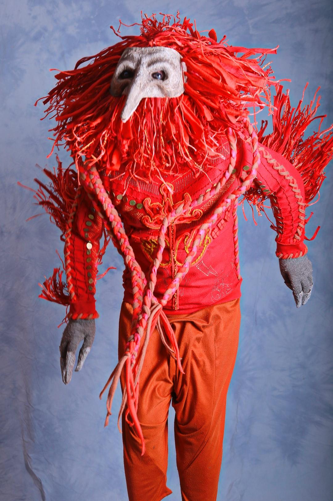 Carnival, shamanistic costume of a red rooster. • Карнавальный, шаманский костюм красного петуха.