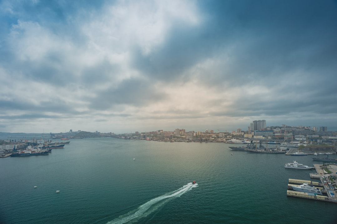 Zolotoy Rog bay, Vladivostok. View from the bridge on the island of Russky.