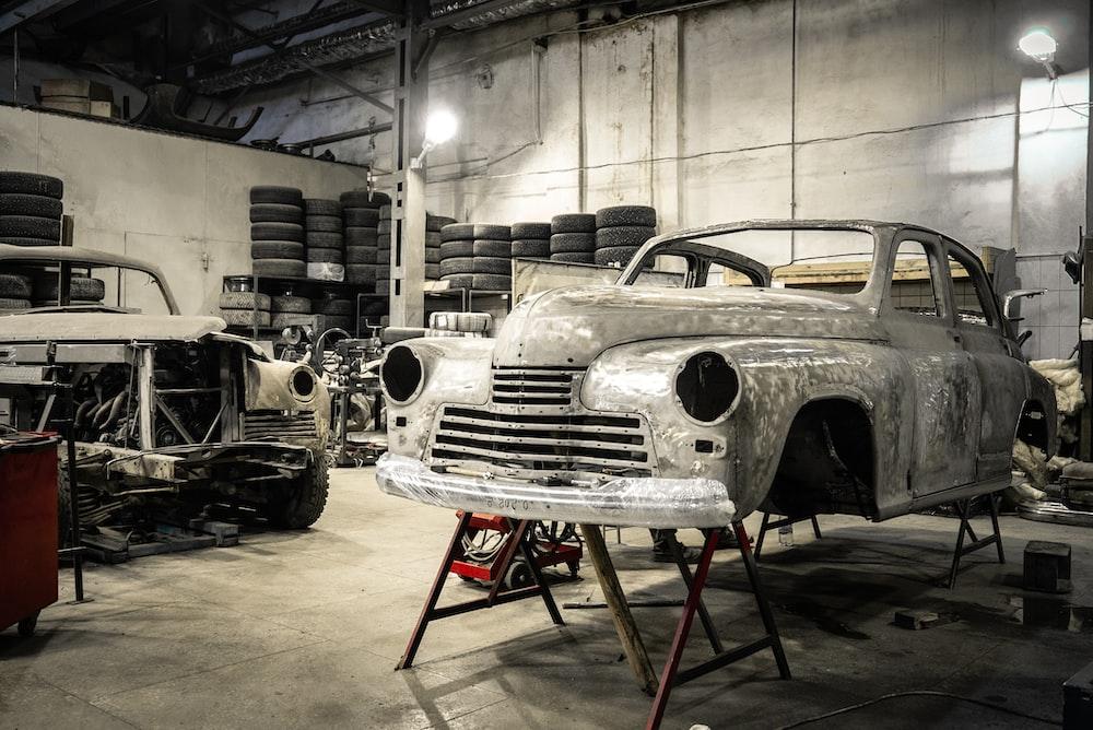 white vintage car in garage