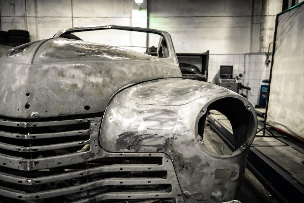 grey vintage car in garage