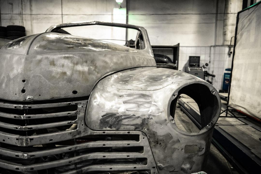 Old car in restoration workshop