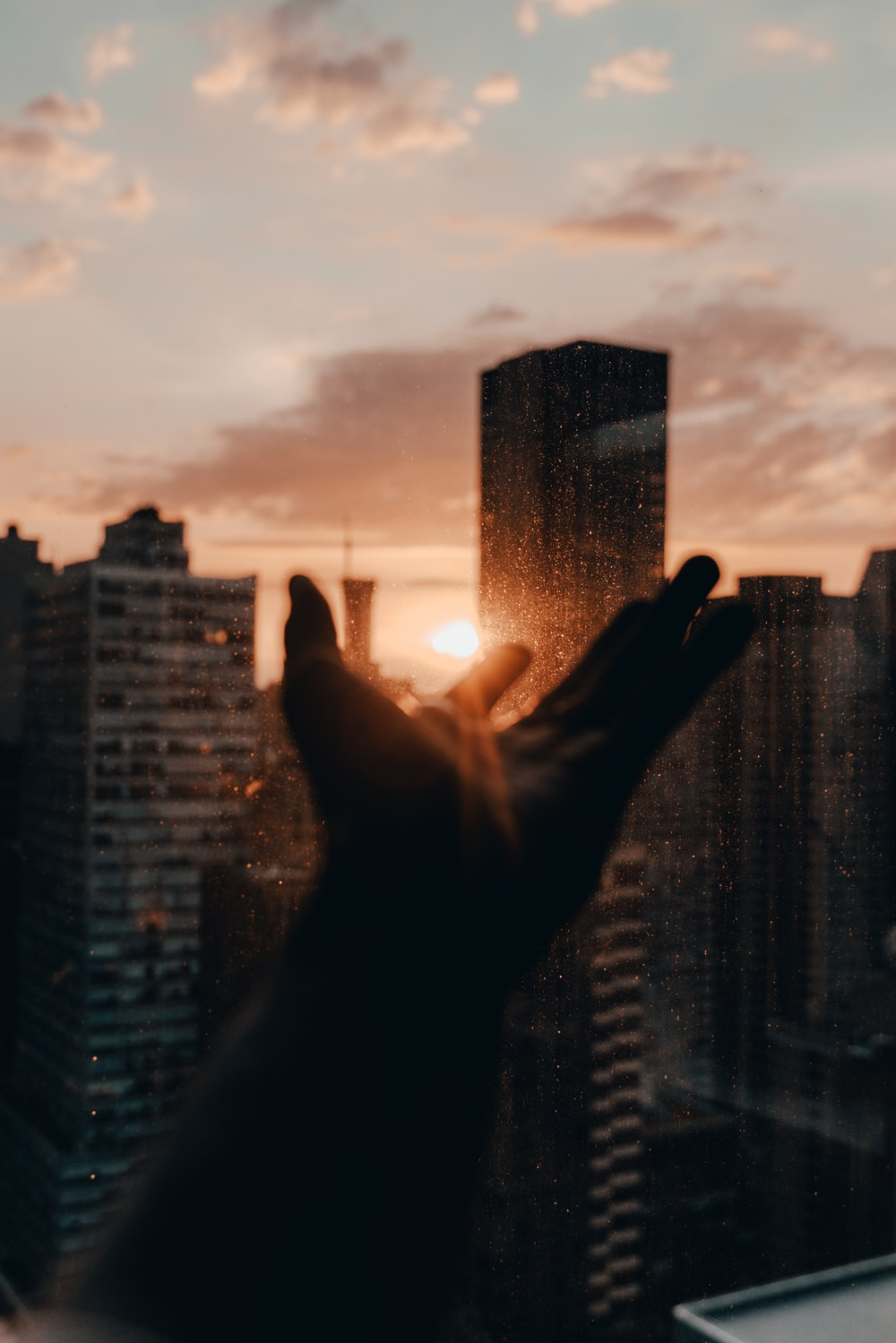 persons hand on top of building during sunset