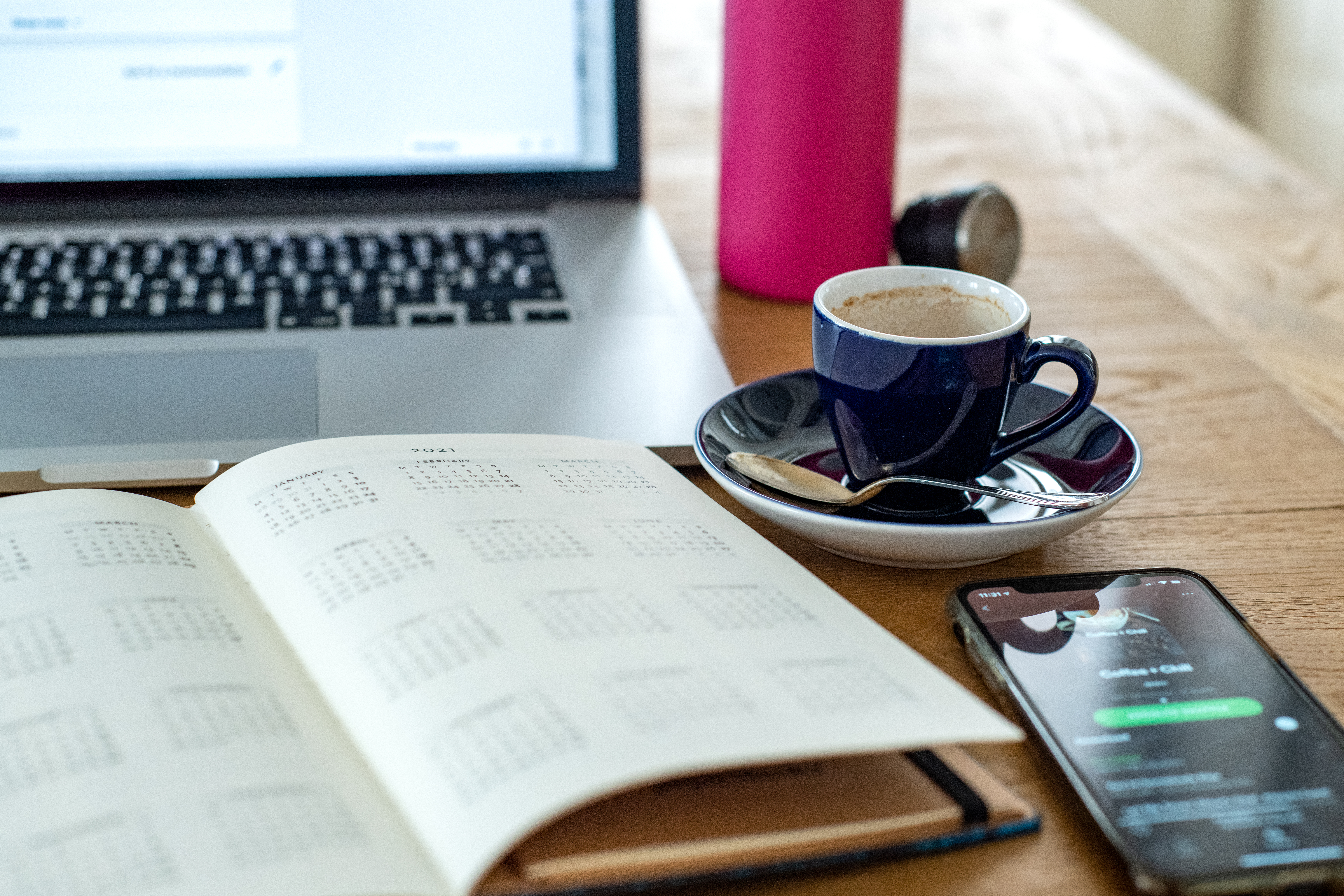 home working with laptop, espresso cup and calendar - Hotcopy