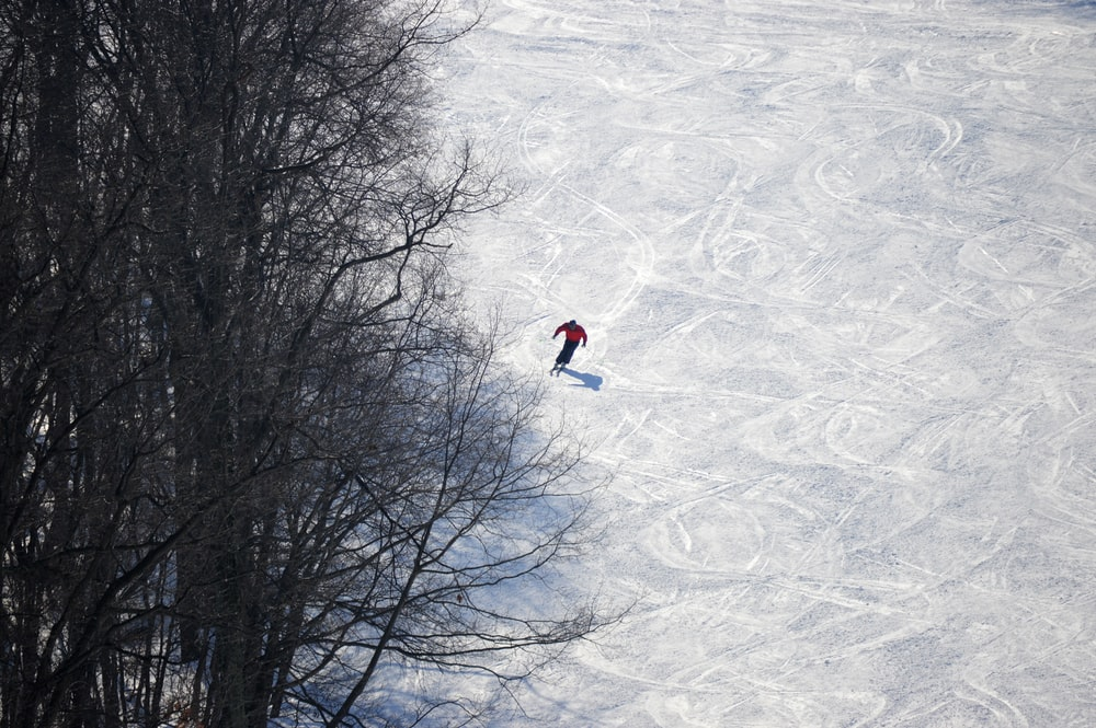 person in red jacket and blue pants walking on snow covered ground during daytime
