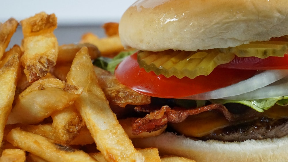 burger with fries and tomato sauce