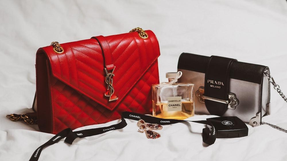 red and black leather handbag