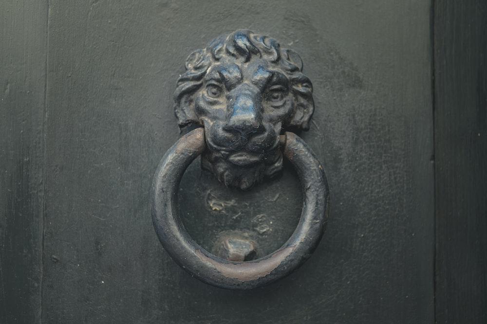 black lion door handle on black wooden door