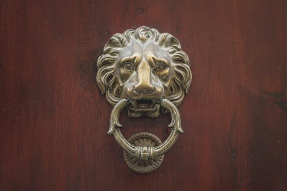 gold lion door handle on brown wooden door