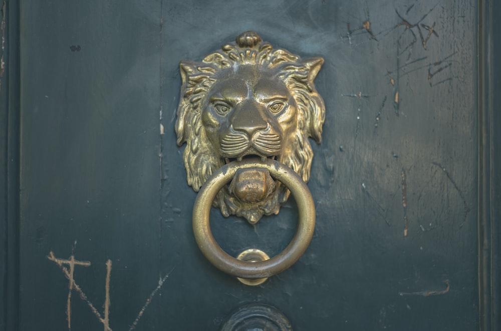 gold lion door handle on blue wooden door