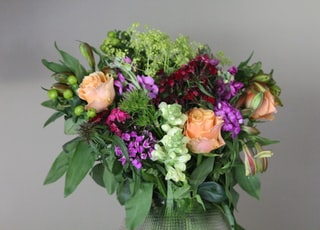 pink and yellow flower bouquet