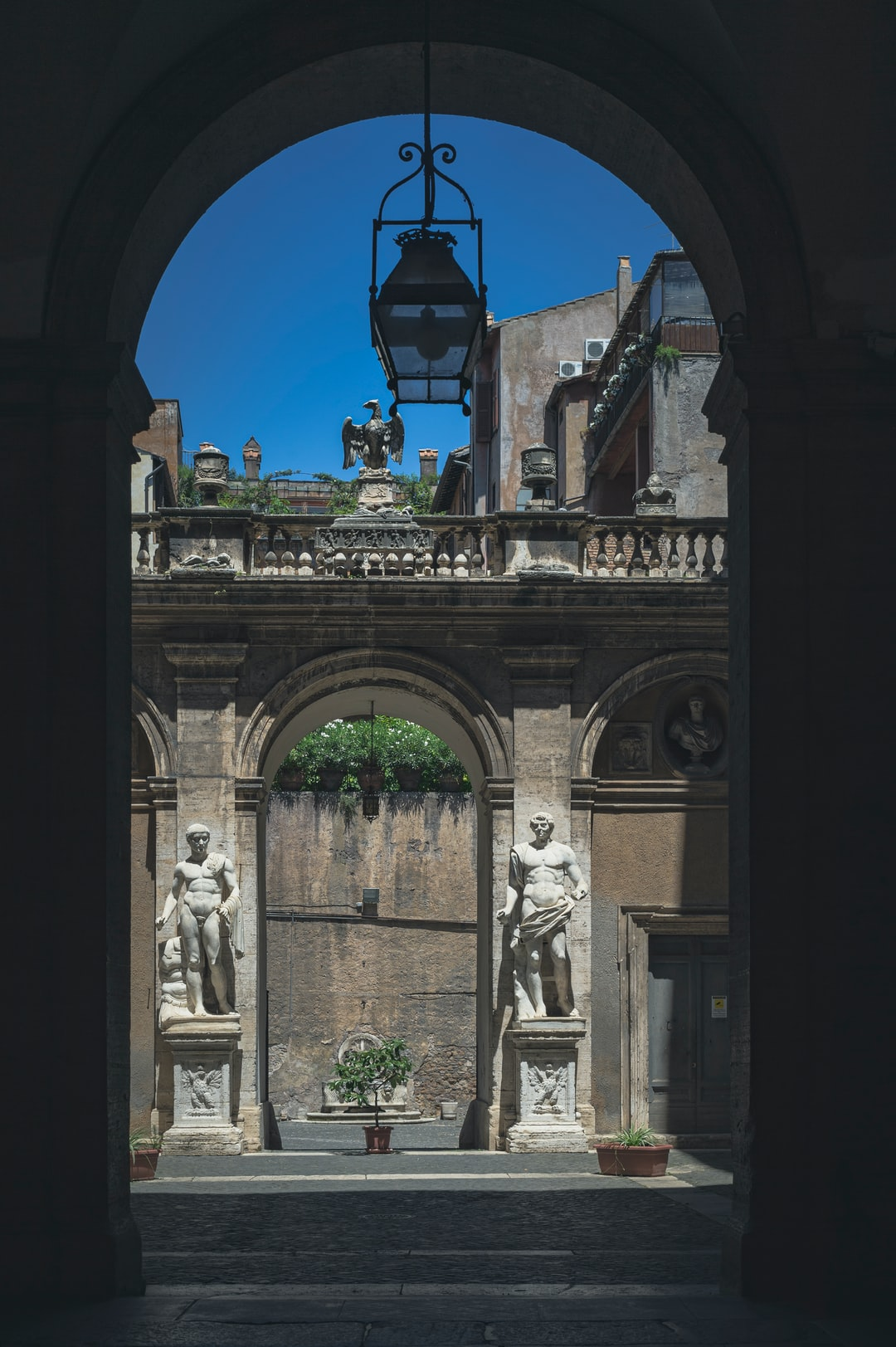 Inner courtyard with sculptures.