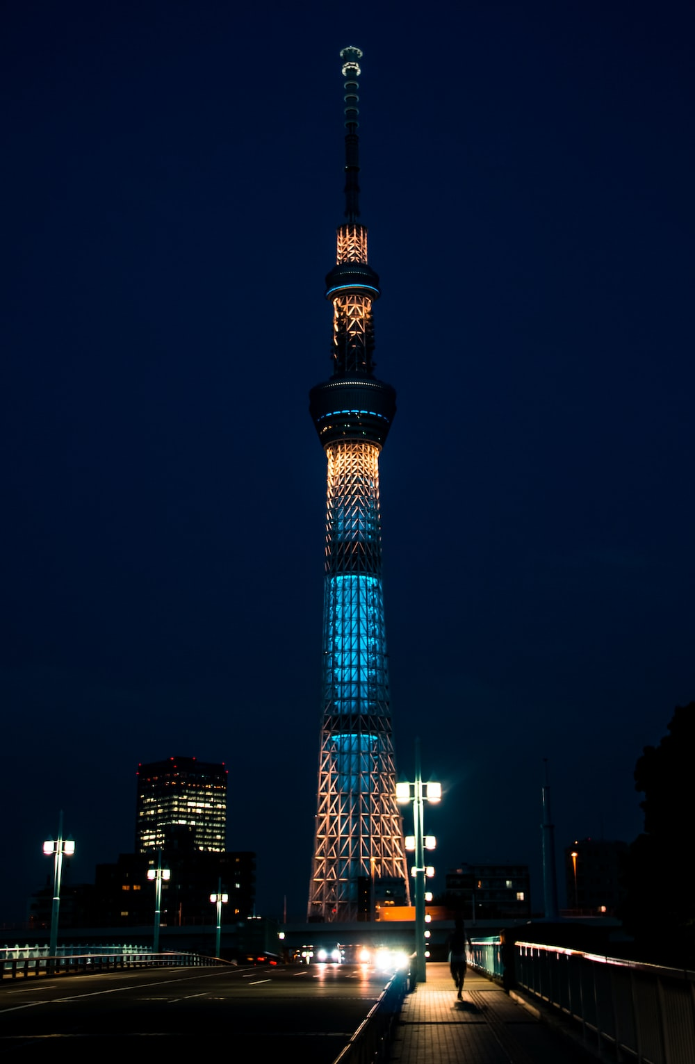 lighted tower during night time