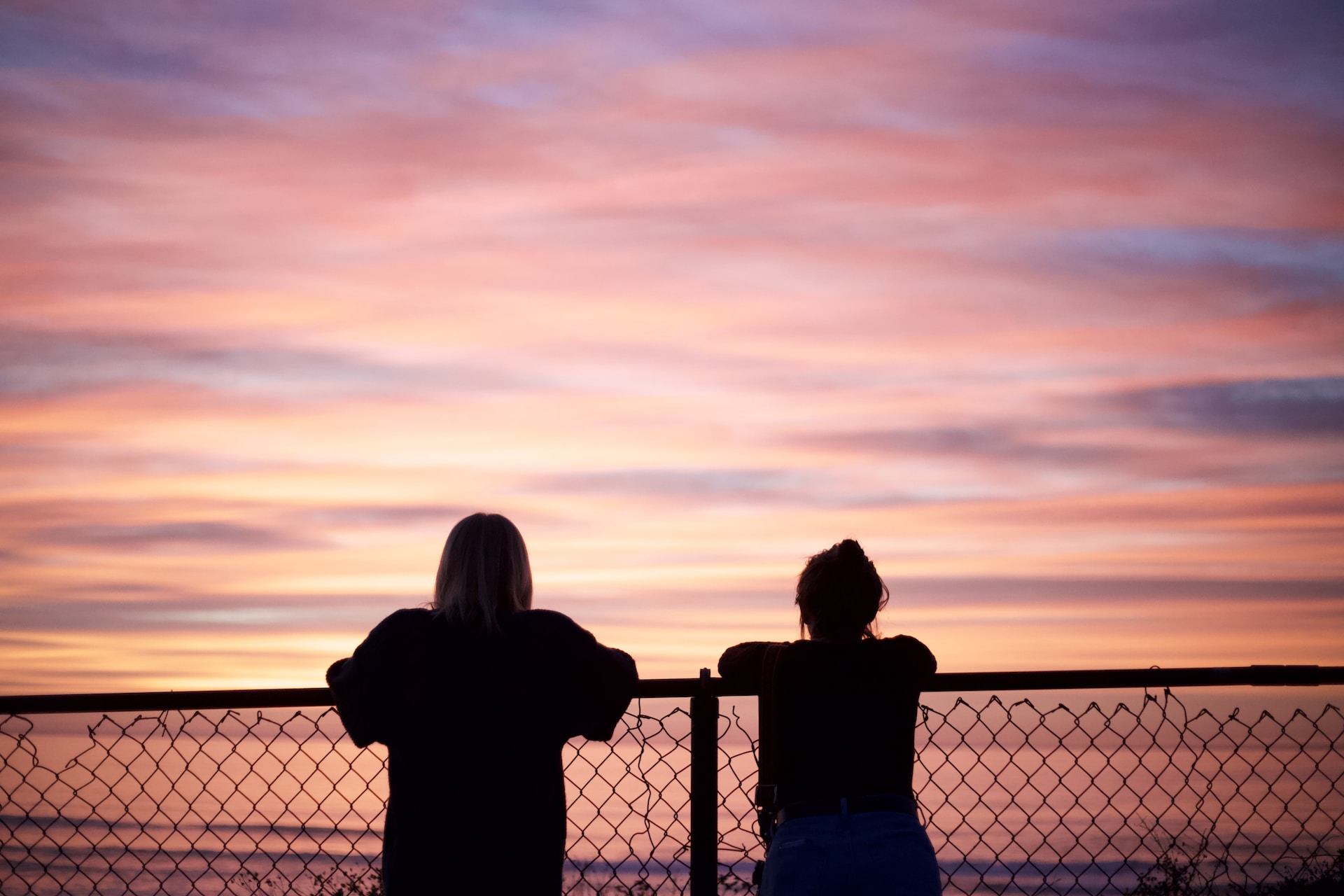 silhouette of 2 person standing beside fence during sunset