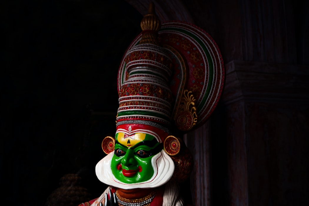 A man dressed for his Kathakali Performance