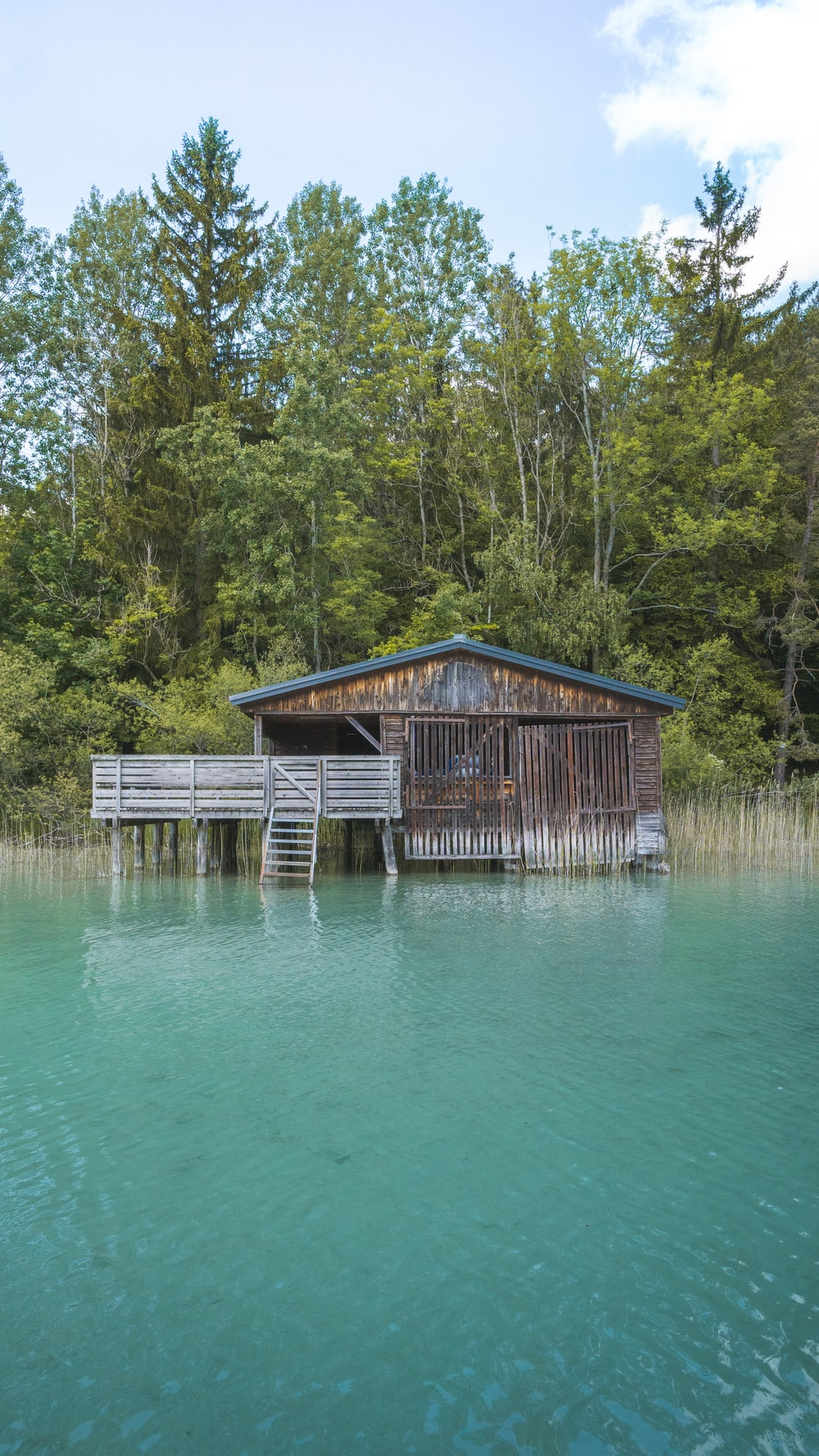 brown wooden house on water