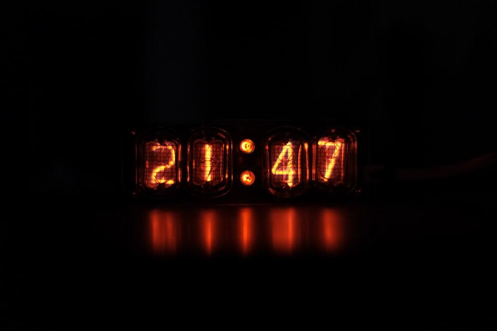 black and red digital clock