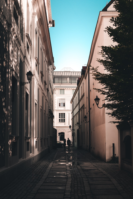 grayscale photo of people walking on sidewalk between buildings