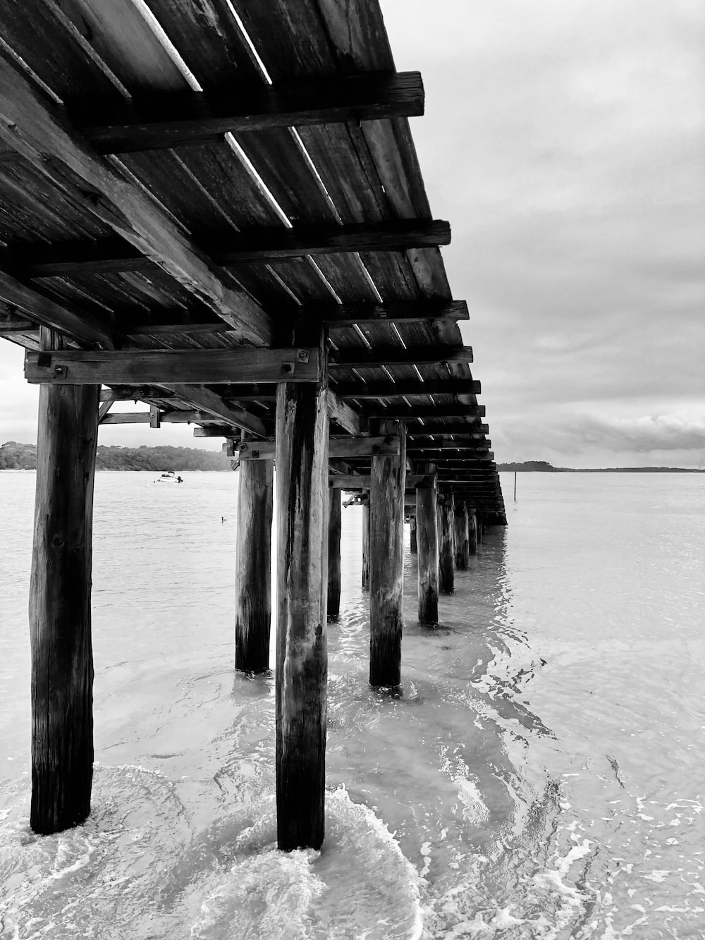 grayscale photo of wooden dock on sea