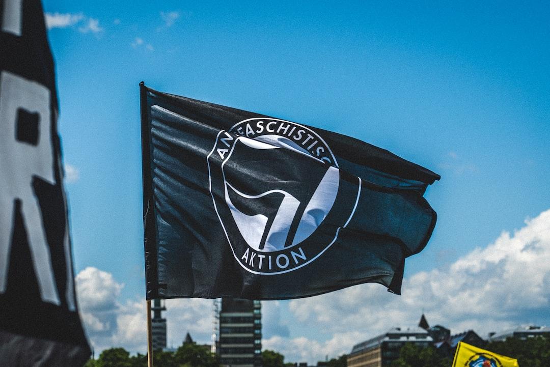 An Antifa flag. Black Lives Matter demonstration in Cologne, Germany - 06.06.2020
