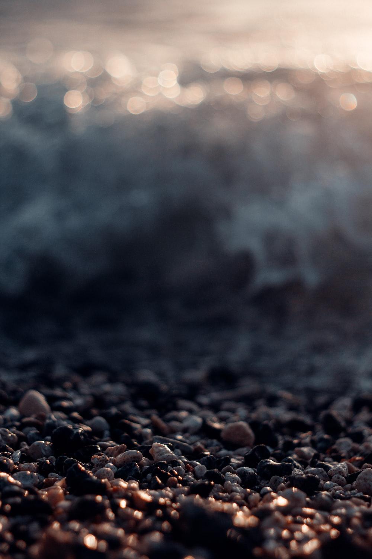 black stones on the shore