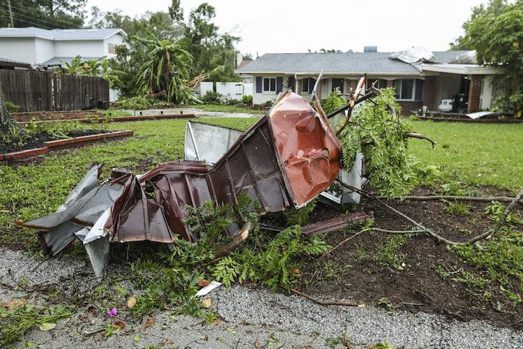 Destruction caused by a tornado