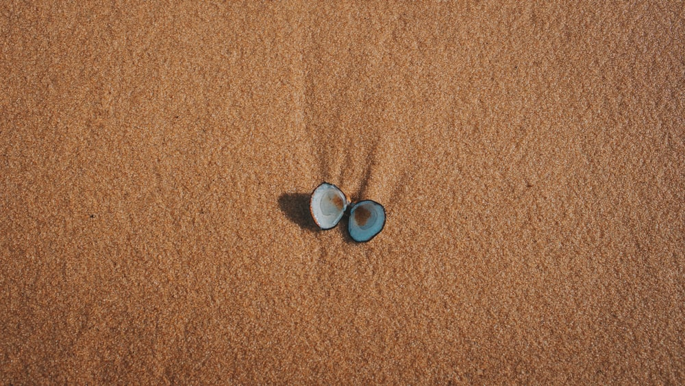 2 blue and silver round coins on brown textile