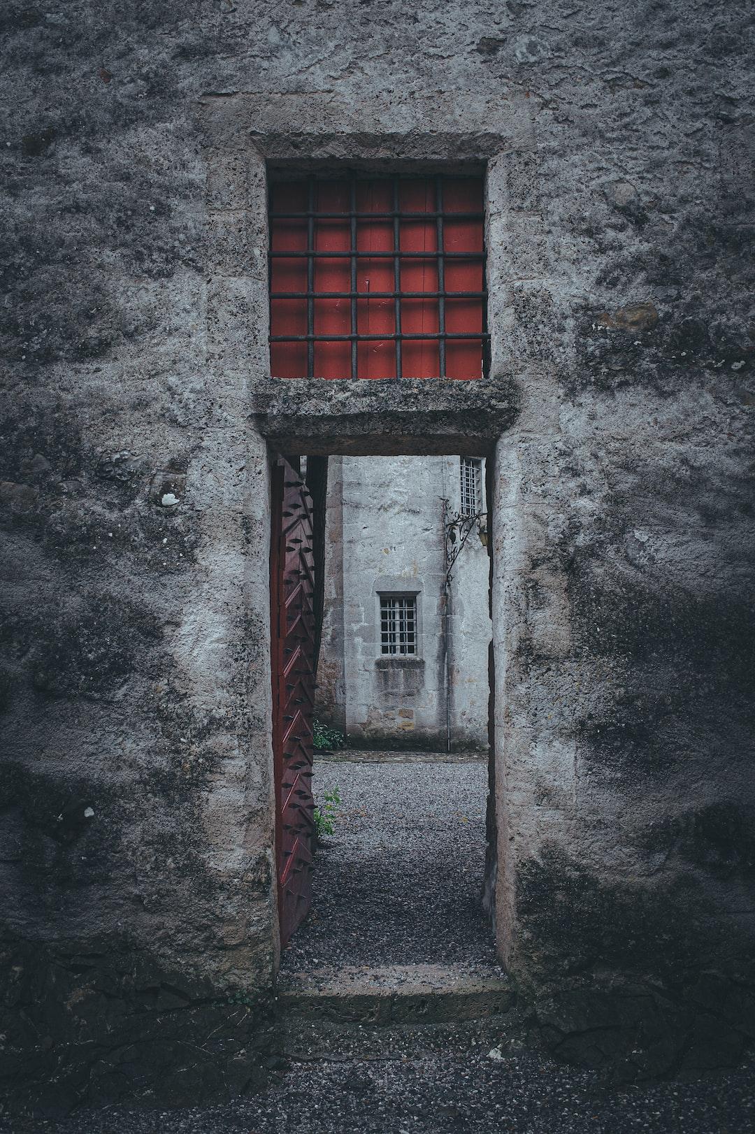 An open door in a medieval castle.