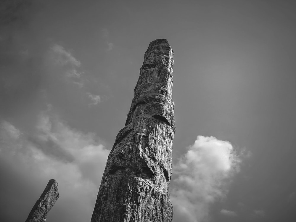 grayscale photo of a tower