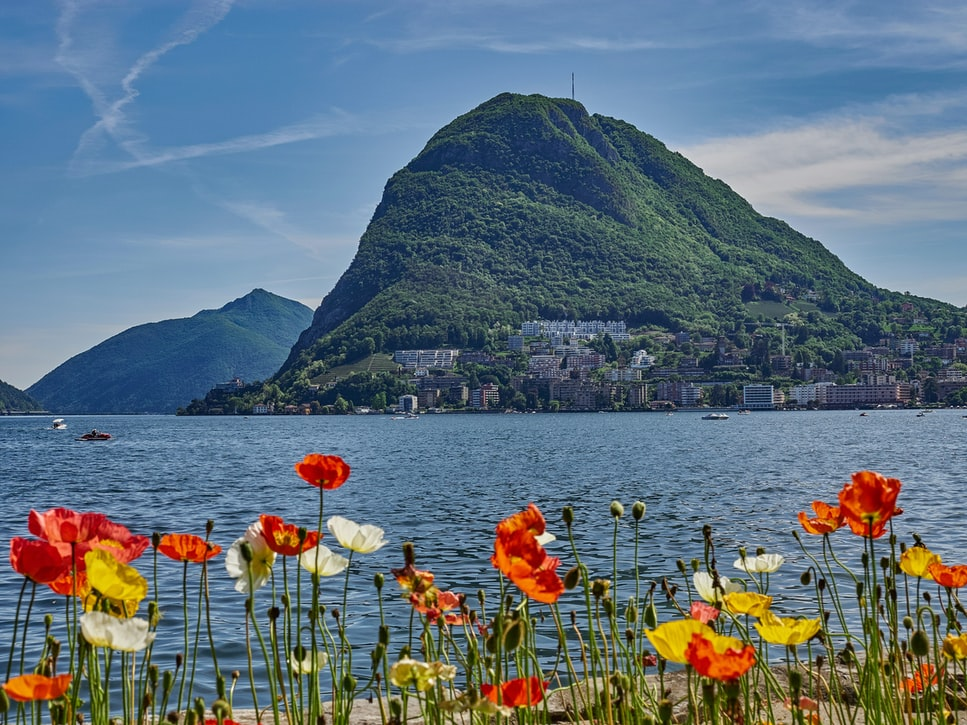 scenic view of lake Lugano
