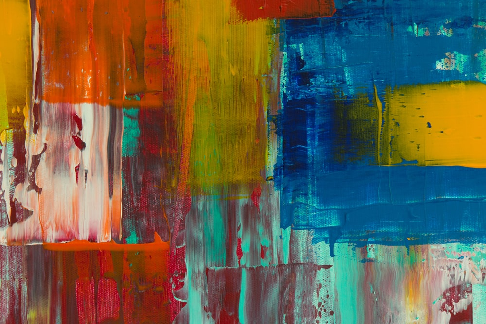 red yellow blue and white abstract painting